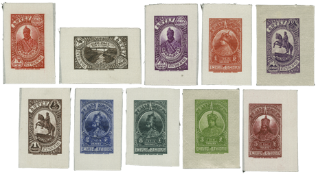 Lot 4211: 1/8 G. - 5 Th., cpl. set in adopted colours on WHITE SILK, imperforated