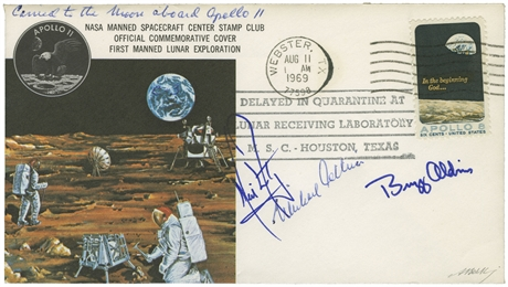 Space Mail, USA 1969, APOLLO 11 - geflogener MONDLANDEBRIEF vom NASA MSC Stamp Club.